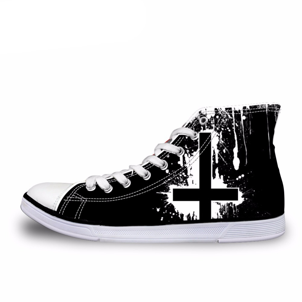 NOISYDESIGNS классический Для мужчин s высокие вулканическая обувь Прохладный Heavy Metal Rock Повседневное мужские тканевые туфли на шнуровке Для мужч...