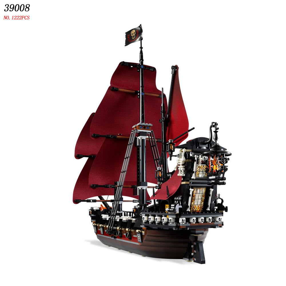 New 39008 Pirates series The Queen Annes Revenge model Building Blocks set Compatible 4195 classic Pirate Ship Toys for children lepin 22001 pirates series the imperial flagship model building blocks set pirate ship lepins toys for children clone 10210