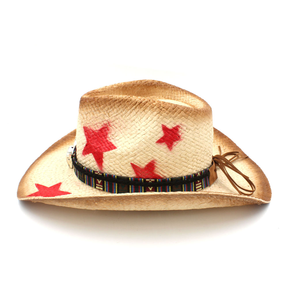 Women Men Straw Western Cowboy Hat With Bohemia Bull Head Ribbon Star Lady  Dad Sombrero Hombre Cowgirl Jazz Caps Size 58CM-in Cowboy Hats from Apparel  ... 95aa570d513f