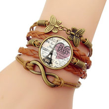 Hot 2019 NEW Paris Romantic Eiffel Tower Men Bracelet Time gem Weaving Bracelets For Women Fashion Leather Bracelets Bangles(China)