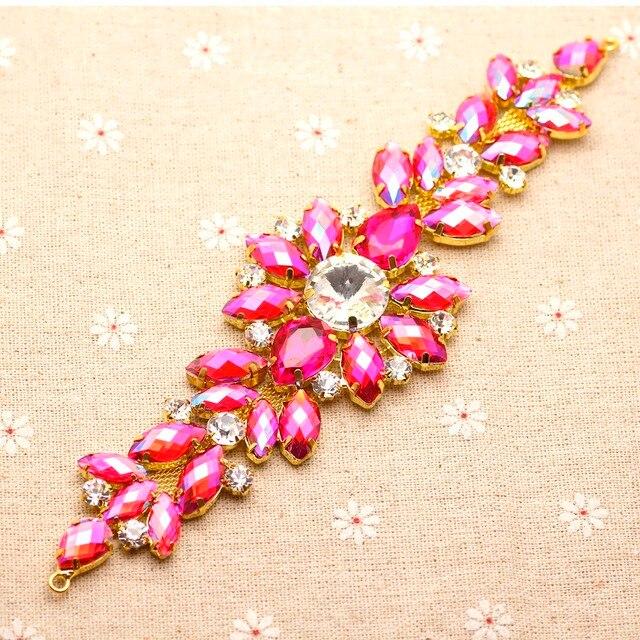 18.2 5.5cm Rose crystal gold Base Flower rhinestone applique Belt For  wedding evening dress aa80e66d2444