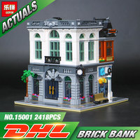 2016 New 15001 2413Pcs LEPIN Creator Brick Bank Model Building Kits Minifigure Blocks Bricks Kits Toy