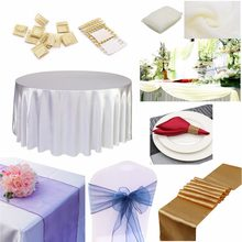 Wedding Party Organza Swag Chair Sashes Satin Table Runner Tablecloth Napkin Ring Birthday Wedding DIY Decoration Party Supplies(China)
