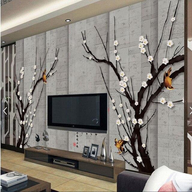 Magnolia Vogel Blume Tapete Malerei Tapeten Für Wohnzimmer 3D Papier Peint  Gießen Les Murs 3 D