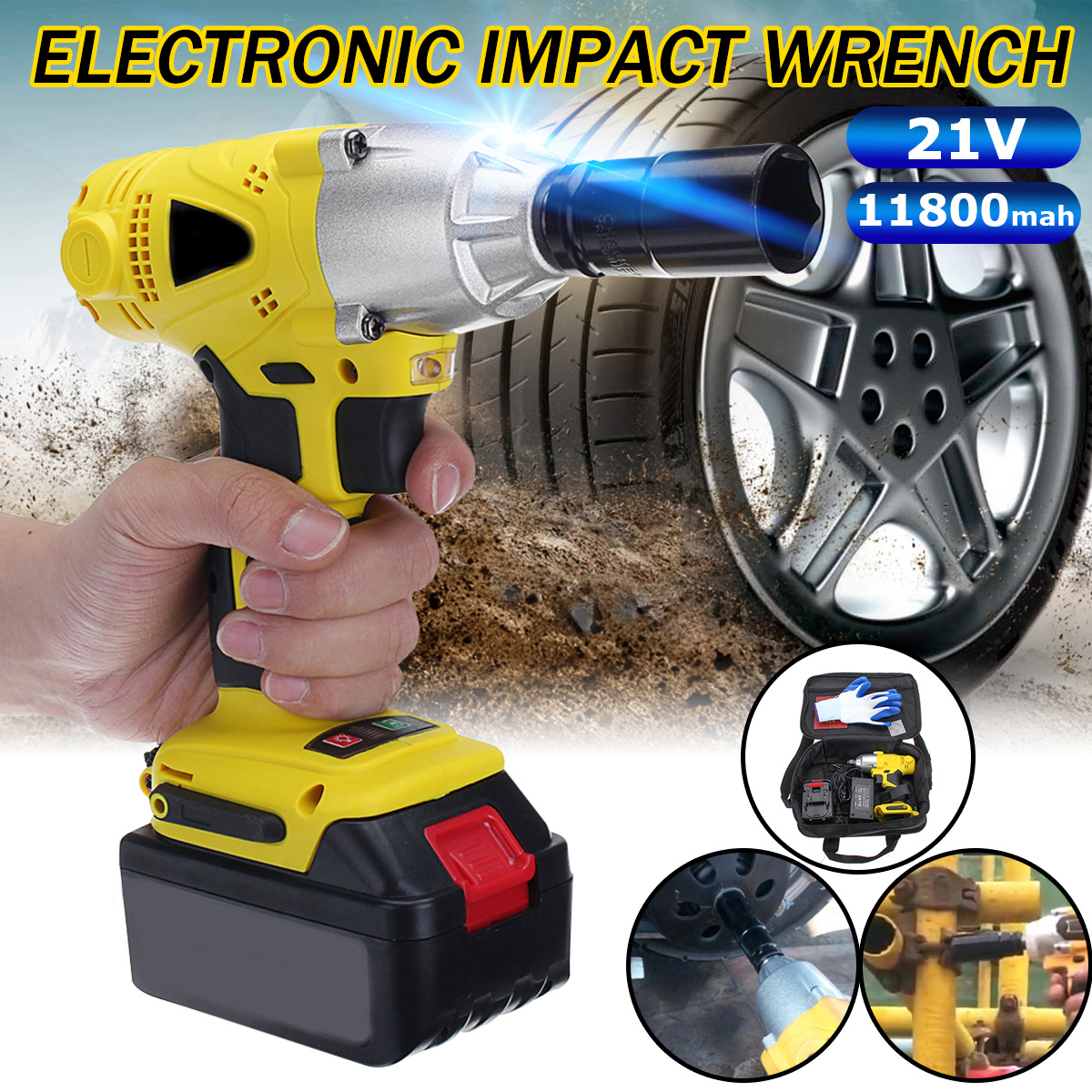 Doersupp 21V 11800mAh External Brushless Motor Rechargeable Lithium Electric Wrench Kit 280N/m Cordless Power Tool With Bag tenwa 21v 4000mah electric impact wrench home repair power tool lithium battery cordless wrench 280n m brush brushless drill