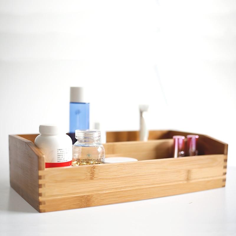 Boîte de rangement en bambou haut de gamme pour cosmétiques/articles divers/médecine Eco organisateur de bureau en bois naturel décoration de Table