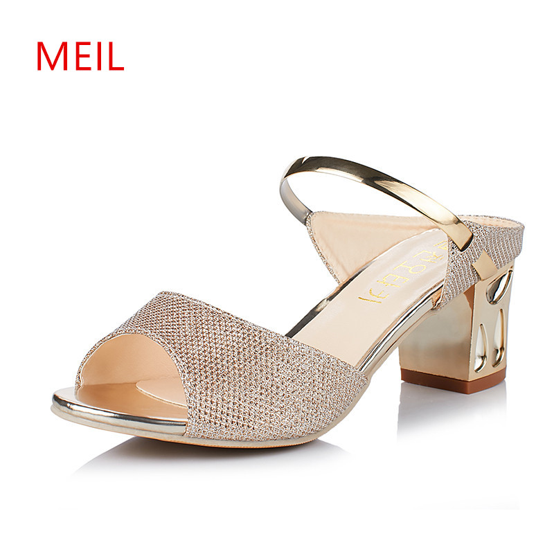 Women Sandals Slipper Ladies Summer Shoes Open Toe High Heels Sandals Women Peep Toe Ladies Sandals 2018 Sandalias Elegantes in Middle Heels from Shoes