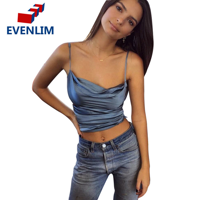 bbf885b128 EVENLIM Silk Camisole Tank Top Adjustable Strap Sleeveless v neck Bustier  Crop Top Backless 2017 Summer Short Women Tops DR0227