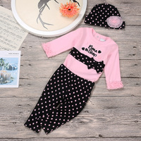 2017 Spring Style Baby Clothes Sets Infant Long Sleeve Print Rompers Pants Hat 3pcs Newborn Pullover