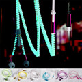 Glow In The Dark Wired Luminous Headsets Earbud Zipper drop Earphone canalphone w/ Mic for phone mp3 music player