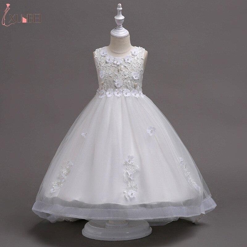 Lovely Ankle Length Beaded Appliqued   Flower     Girl     Dresses   2019 Tulle   Flower   Kids Pageant   Dresses   High Low Lace Communion   Dresses