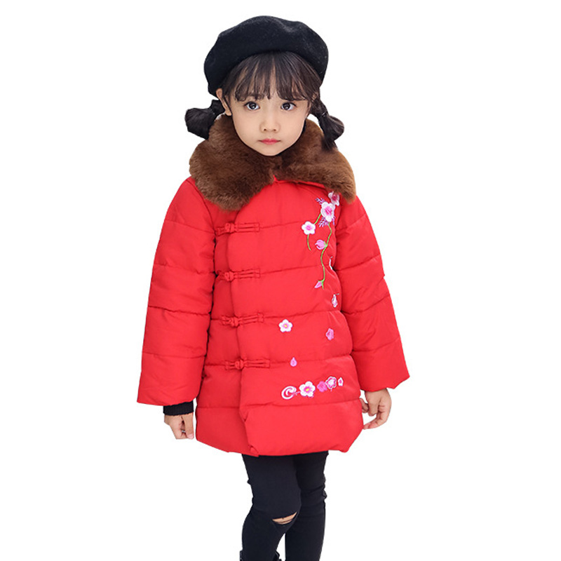 2018 New Winter Girls Jacket Outwear Clothes Cotton Padded Kids Girls Coat Embroidery Flower Children Parka RT244 high quality new winter jacket parka women winter coat women warm outwear thick cotton padded short jackets coat plus size 5l41