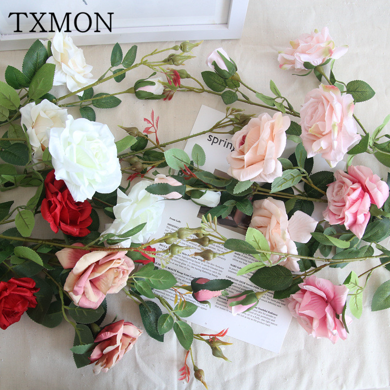 Colorful 3 heads corner roses simulation silk flower home ...