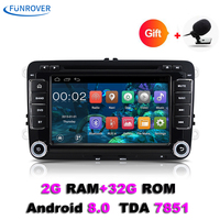Funrover Quad Core Android 8.0 car dvd player gps 2 Din 7 Inch For Volkswagen VW Skoda POLO PASSAT CC TIGUAN B6 golf 5 Fabia Cam