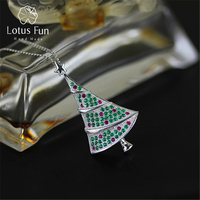 Lotus Fun Real 925 Sterling Silver Zirconia Handmade Fine Jewelry Christmas Fir Tree Pendant without Chain Acessorios for Women