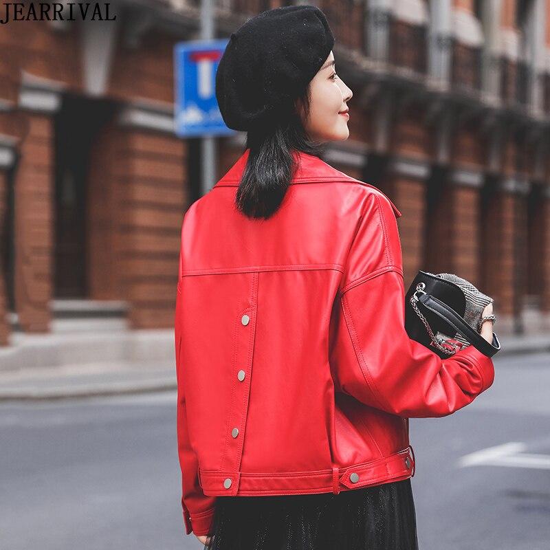 Chic Spring Faux   Leather   Jacket Women Loose Street Fashion Single Breasted Bike Motorcycle PU   Leather   Jacket Short Basic Coat