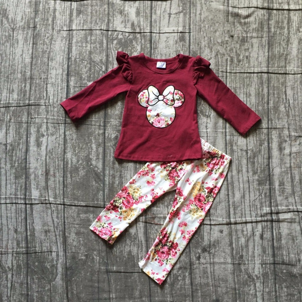 2 pieces sets girls Fall/winter clothes children girls floral top with wine red long pants sets outfits girls party boutique set все цены