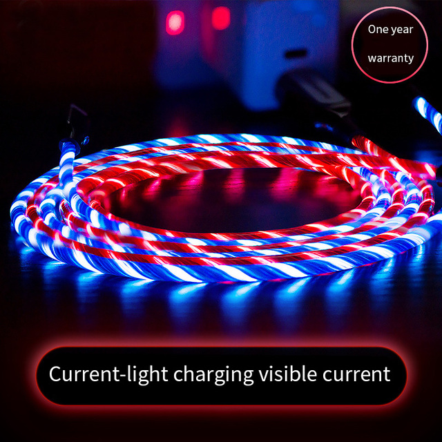LED Flash Light Data USB Charging Cable For iPhone .Andriod micro Cable, Type C cables  6 s 6s 7 8 Plus Xs Max XR X 10 5 5s SE i