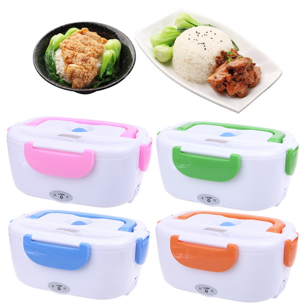 Portable Electric Heated Food Warmer Box Container Lunch Meal Lunchbox 110V US bear dfh s2516 electric box insulation heating lunch box cooking lunch boxes hot meal ceramic gall stainless steel