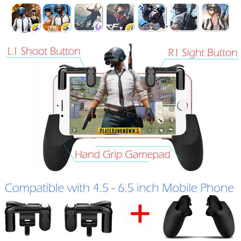PUGB Free Fire PUBG Mobile L1 R1 Trigger Button + Hand Grip Gamepad Controller L1R1 Joystick for iPhone Android Phone Game Pad gamesir f1 gamepad game controller phone analog joystick grip for all android
