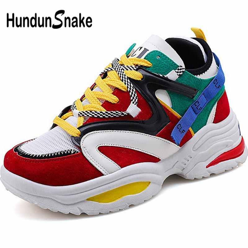 Hundunsnake Platform Women Sport Sneakers Men Running Shoes For Women Sports Shoe Female Summer Chunky Trainers Thick Sole B-043