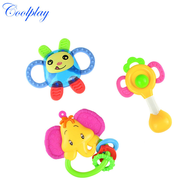 Coolplay 3pcsLot toys newborn teethers baby hand rattles