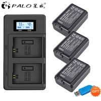 PALO 2000mAh NP FW50 NP FW50 NPFW50 Battery Akku + LCD Dual Charger for Sony Alpha a6500 a6300 a7 7R a7R a7R II a7II NEX 3 NEX 5