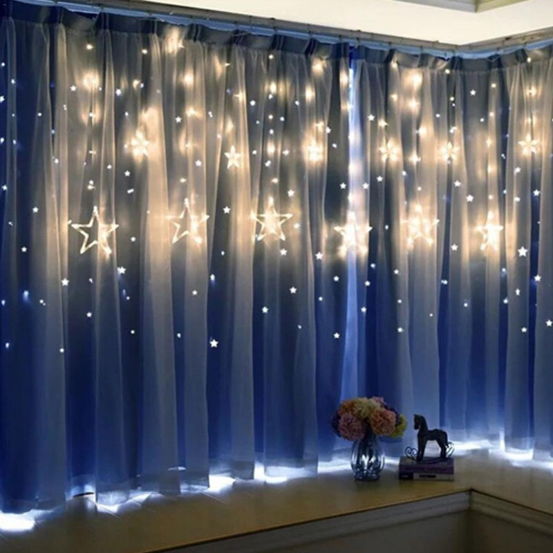 Christmas Garland Romantic Fairy Star Led String Light Warm White 4M EU Plug AC 220V Light For Wedding Party Holiday New Year