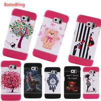 Painted Bear Cherry Blossom Tree Lipstick Girl Back Leather Hard Case For Samsung Galaxy S6 S6edge