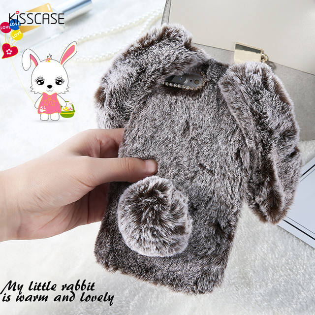 hot sale online 251c5 ea1e9 US $7.13 |KISSCASE For iPhone 5s Case Lovely Rabbit Fluffy Fur TPU Cases  For iPhone 6 6s Plus 5 5s SE 7 7 Plus Case Soft Silicone Cover-in Fitted ...