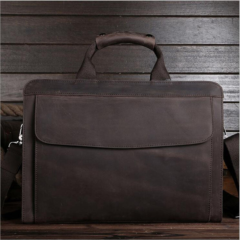 Vintage Crazy Horse Genuine Leather Men Travel Bags Large Capacity Business Men's Shoulder Bags Cowhide Male Laptop Bag LS0214 joyir crazy horse leather briefcases men s genuine leather business bags male shoulder bag laptop bag men office bags for men