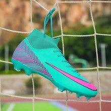 Professional AG Soccer Shoes Sock Football Boots Kids Anti-Slip Damping For Men Green Blue