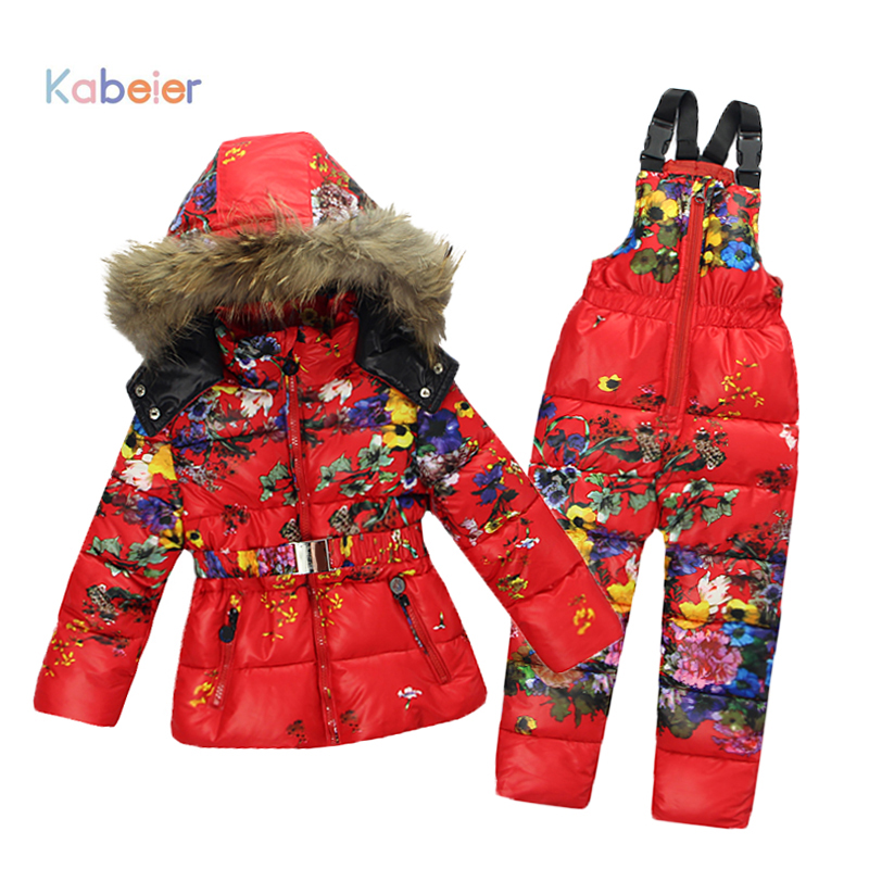 Winter Baby Girl Brand Clothing Sets 100% Natural Fur Print Flower Hooded Coat + Overalls For Gorls Jumpsuit Snow Children Suit calico print overalls