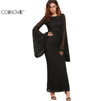 COLROVIE Womens Dresses New Arrival Slim Pencil Long Maxi Dress Black Oversized Bell Sleeve Floral Lace