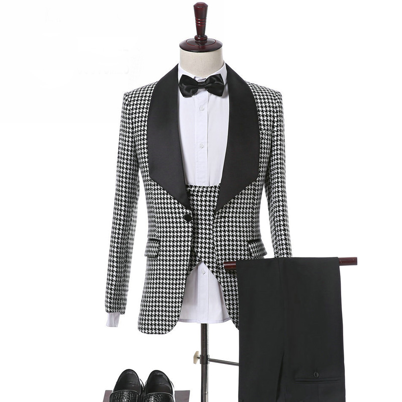 Houndstooth Slim Fit Men Suits For Wedding Groomsmen Tuxedos New Fashion 3 Piece Male Clothes Set Jacket Vest And Black Pants
