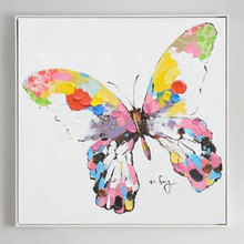 HAND MADE Simple Design Square Size Oil Painting for Living Room Hand-painted PINK BUTTERFLY Small