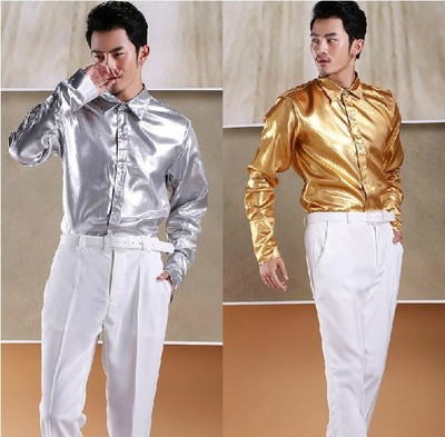Free shipping glitter sequins white collar prince stage sequins decoration mens tuxedo shirts party/wedding shirts