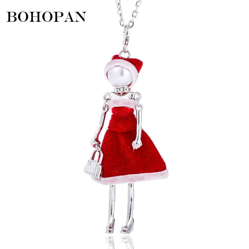Red Dress Cat Doll Pendants Necklace Girl Silver Chain Choker Necklace Fashion Jewelry Women Bijoux Party Gifts collares  kolye