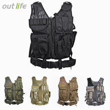Outlife Men Military Tactical Vest Paintball Camouflage Molle Hunting Vest Assault Shooting Hunting Plate Carrier With Holster(China)