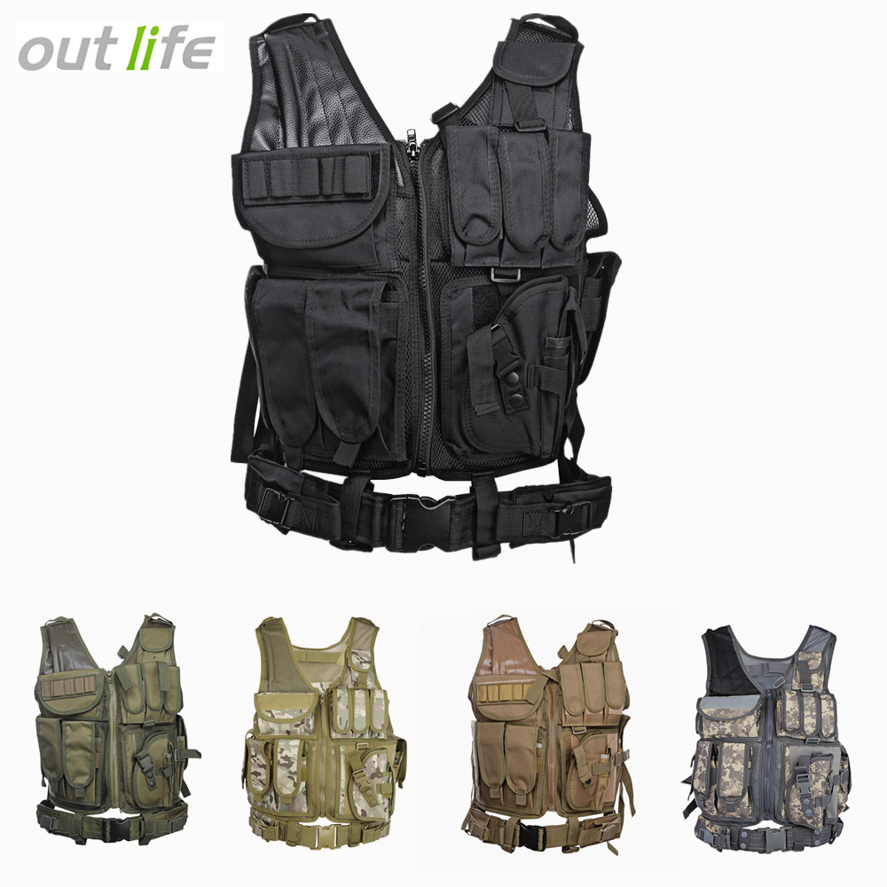 Outlife Men Military Tactical Vest Paintball Camouflage Molle Hunting Vest Assault Shooting Hunting Plate Carrier With Holster