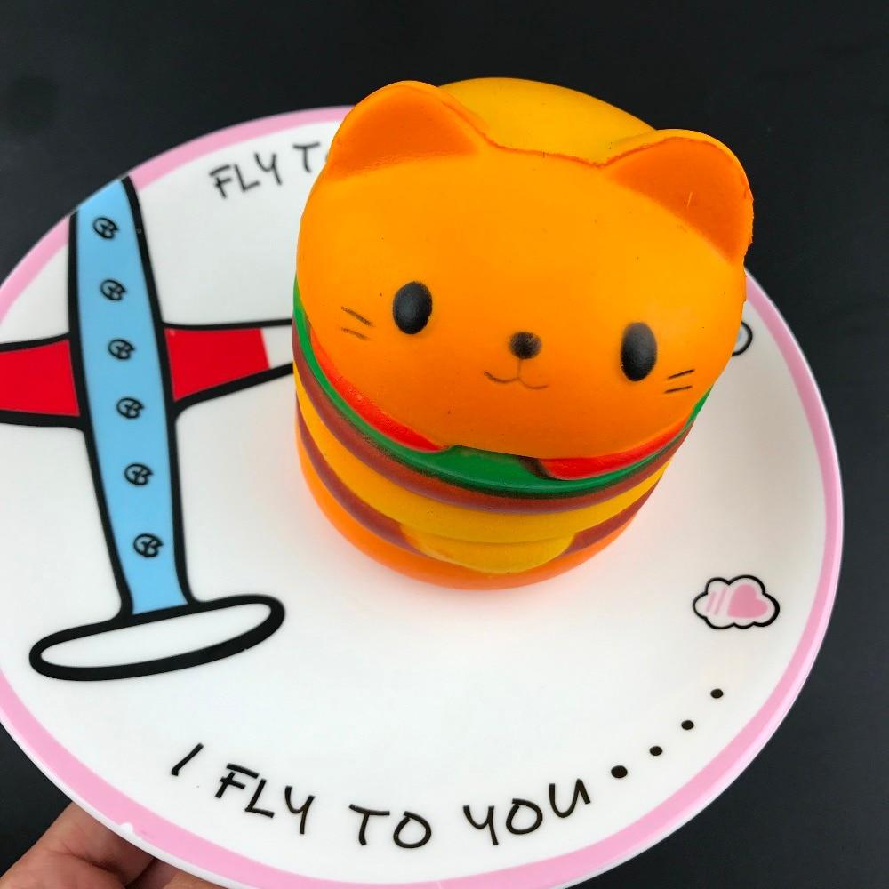 2018 Cute Kawaii Soft Squishy Jumbo Cartoon Cat Hamburger Scented Slow Rising Exquisite Kid Soft squishies Fun Toys Relax