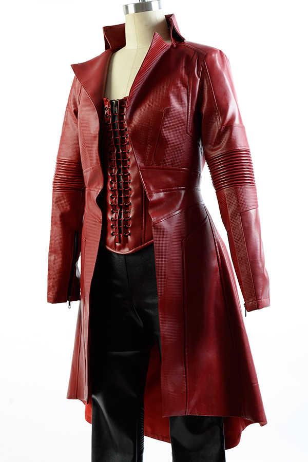Kaptan Amerika İç Savaşı Avengers Scarlet Cadı Wanda Deri Kıyafet FullSet Seksi Kostüm Cadılar Bayramı Karnaval Cosplay Setleri