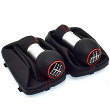 5 Speed 6 12mm Car Gear Shift Knob Lever Stick Handle Gaiter Boot Cover Case Red Stitch For Audi A3 S3 2001 2002 2003