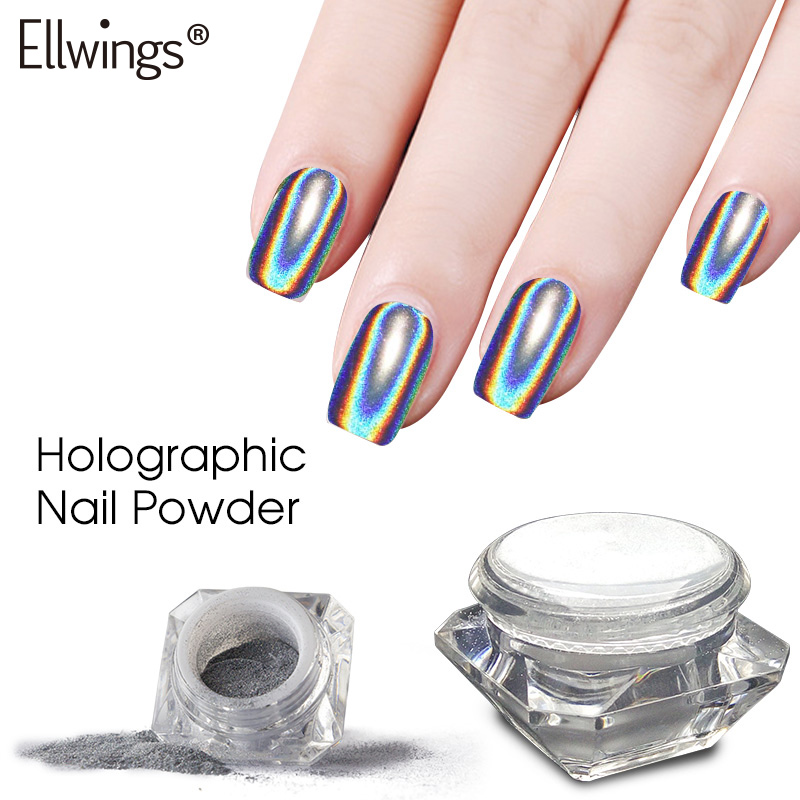 где купить Ellwings Rainbow Mirror Nail Glitter Powder Perfect Shinning Holographic Nails Dust Laser Holo Nails Pigment Silver Decorations по лучшей цене