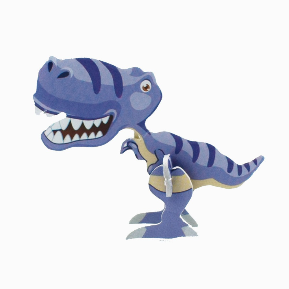 3pcs/set 3D Three-dimensional Puzzle Cute Cartoon Dinosaur Figurine Image Model Puzzle Train Hands-on Ability Action Toy Gift