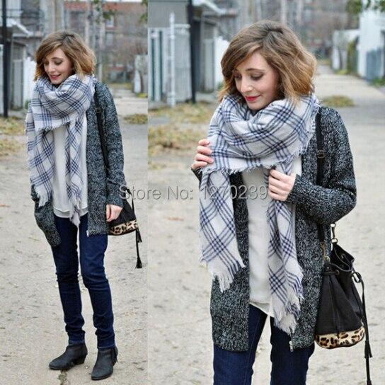 WJ23 Brand Winter 2014 Blanket font b Tartan b font Scarf New Designer Plaid Shawls Women