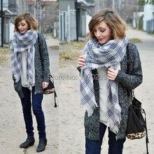 WJ23 Brand Winter 2014 Blanket Tartan Scarf New Designer Plaid Shawls Women's Knitted Pashmina Chirstmas Gift Free Shipping