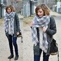 Wj23 марка зима одеяло шотландка шарф дизайнер шотландка платки женщины в трикотаж пашмина Chirstmas подарок