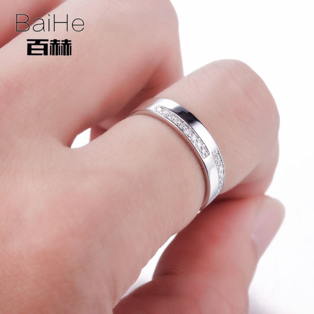 BAIHE Sterling Silver 925 0.12CT Certified H/SI3 Round 100% Genuine ...