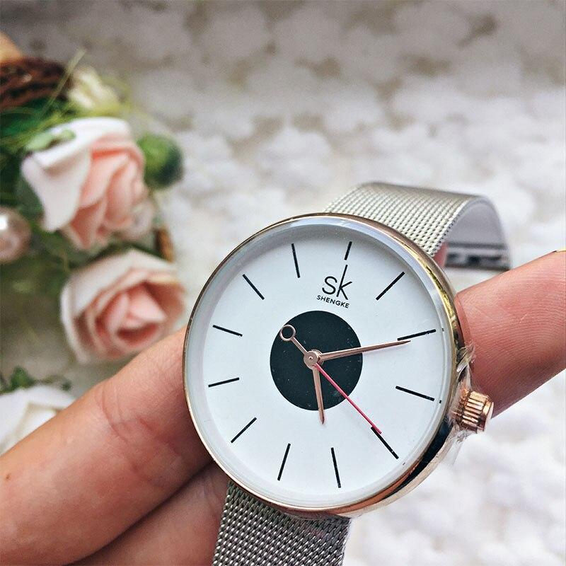 SK 2017 New Women's Bracelet Watches Clock Luxury Brand Quartz Wristwatches Fashion Stainless Steel Watchband Strap Watch Hours 5